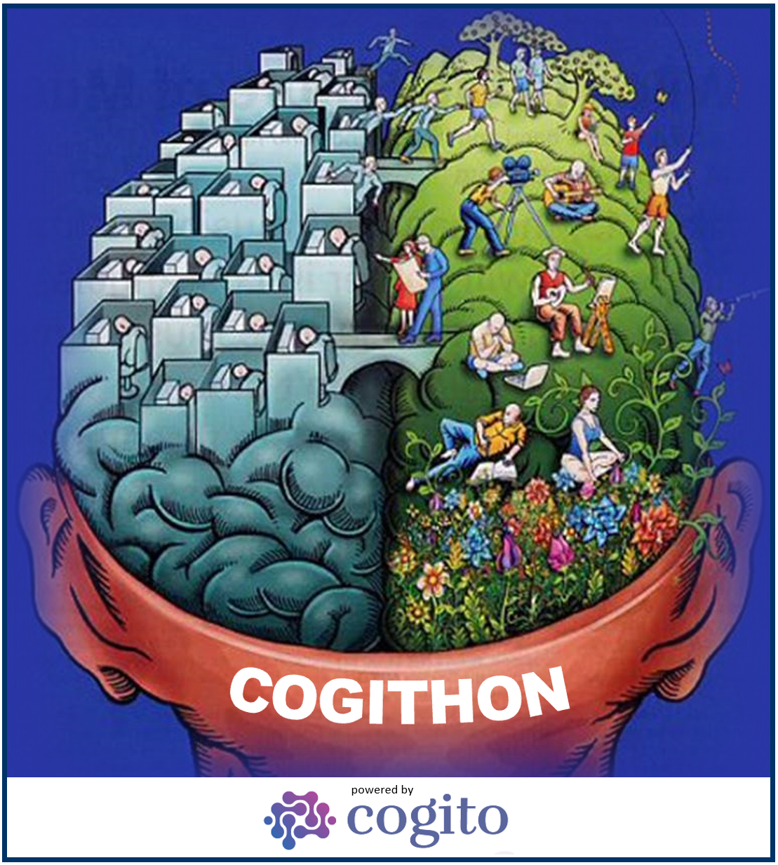 COGITHON mood picture - Drawing of the brain with these two hemispheres to symbolize creativity and rationality.